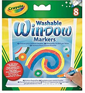 Crayola; Washable Window Markers; Art Tools; 8 Different Colors; Bright, Bold Colors; Works on All Glass Surfaces