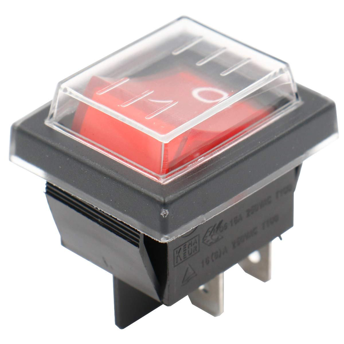 Heschen Rocker Switch ON-OFF DPST 4 Terminals Red Light 16A 250VAC with Waterproof Cover