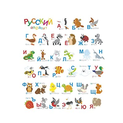 Russian Alphabet Wall Stickers Cartoon Animal Letters Decals for Kids Room Nursery Bedroom: Everything Else