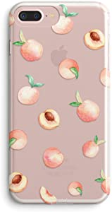 iPhone 7 Plus Case,iPhone 8 Plus Case,Girls Cute Pink Peach Funny Fruits Hipster Summer Tropical Hawaii Beach Sweet Girly Soft Clear Case Compatible for iPhone 7 Plus/iPhone 8 Plus