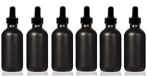 Premium Vials, 1oz Black Coated Glass UV Resistant Eye Dropper Bottles (6 pack), UV Safe Bottles for Essential Oils and Aromatherapy (1 oz)