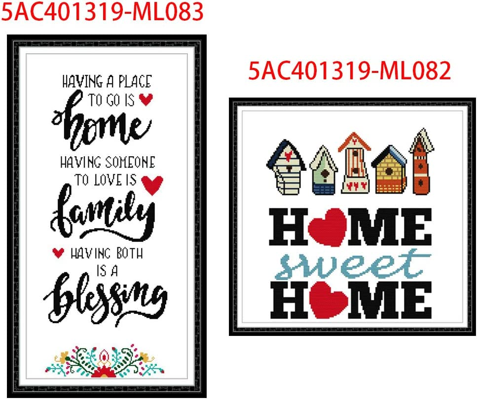 KANGneei Sweet Home Family DIY Handmade Needlework Counted 14CT Printed Cross Stitch Embroidery Kit Set Home Decoration