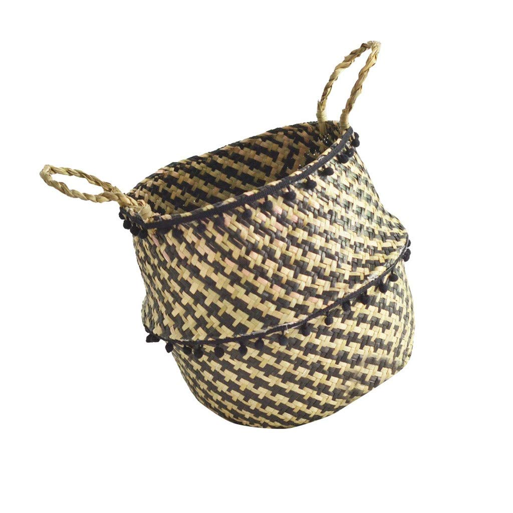 IEasⓄn _Home Kitchen,Woven Seagrass Belly Basket for Storage Plant Pot Basket and Laundry, Basket Storage Decoration Folding Basket (A) by IEasⓄn _Home Kitchen (Image #1)