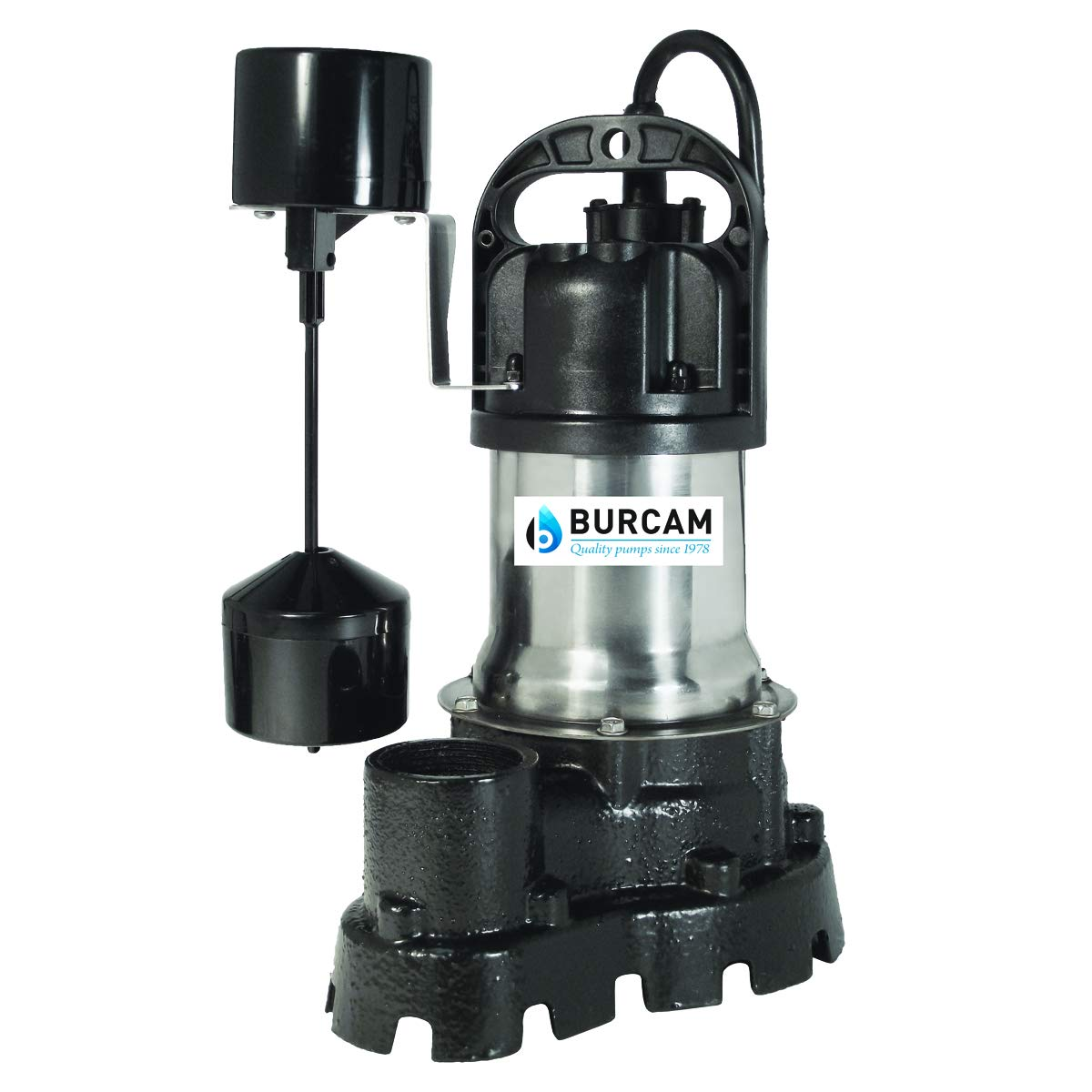 BURCAM 300526 1/2 HP Stainless Steel and Cast Iron Submersible Sump Effluent Pump