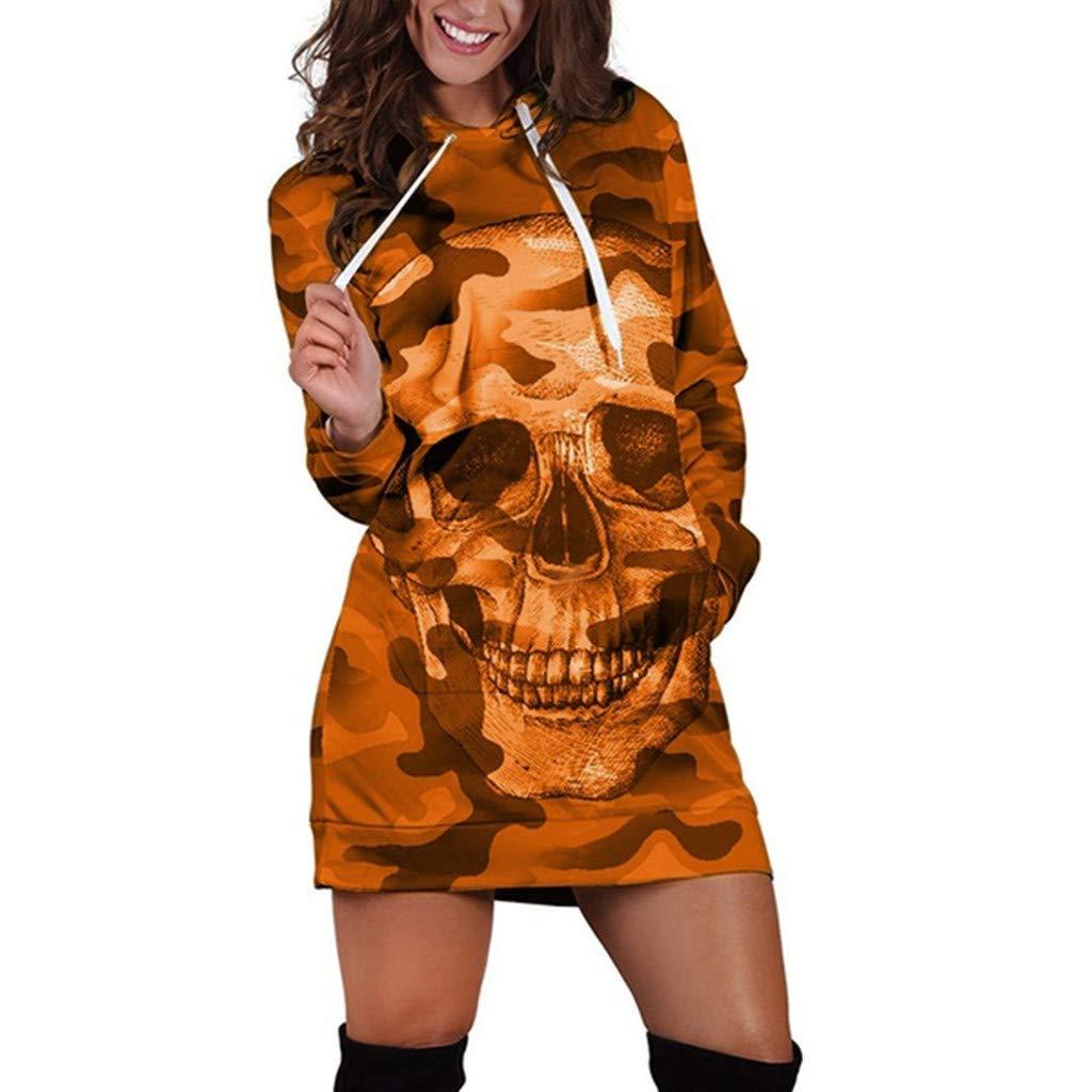 Leey Robe Sweat /à Capuche Femme Hooded Sport Sweatshirt Robe Manche Longue Automne et Hiver 2019 Pull Chaud D/écontract/ée Cr/âne Imprimee T/ête de Mort Halloween Mini Robe Robe de Sport Tops