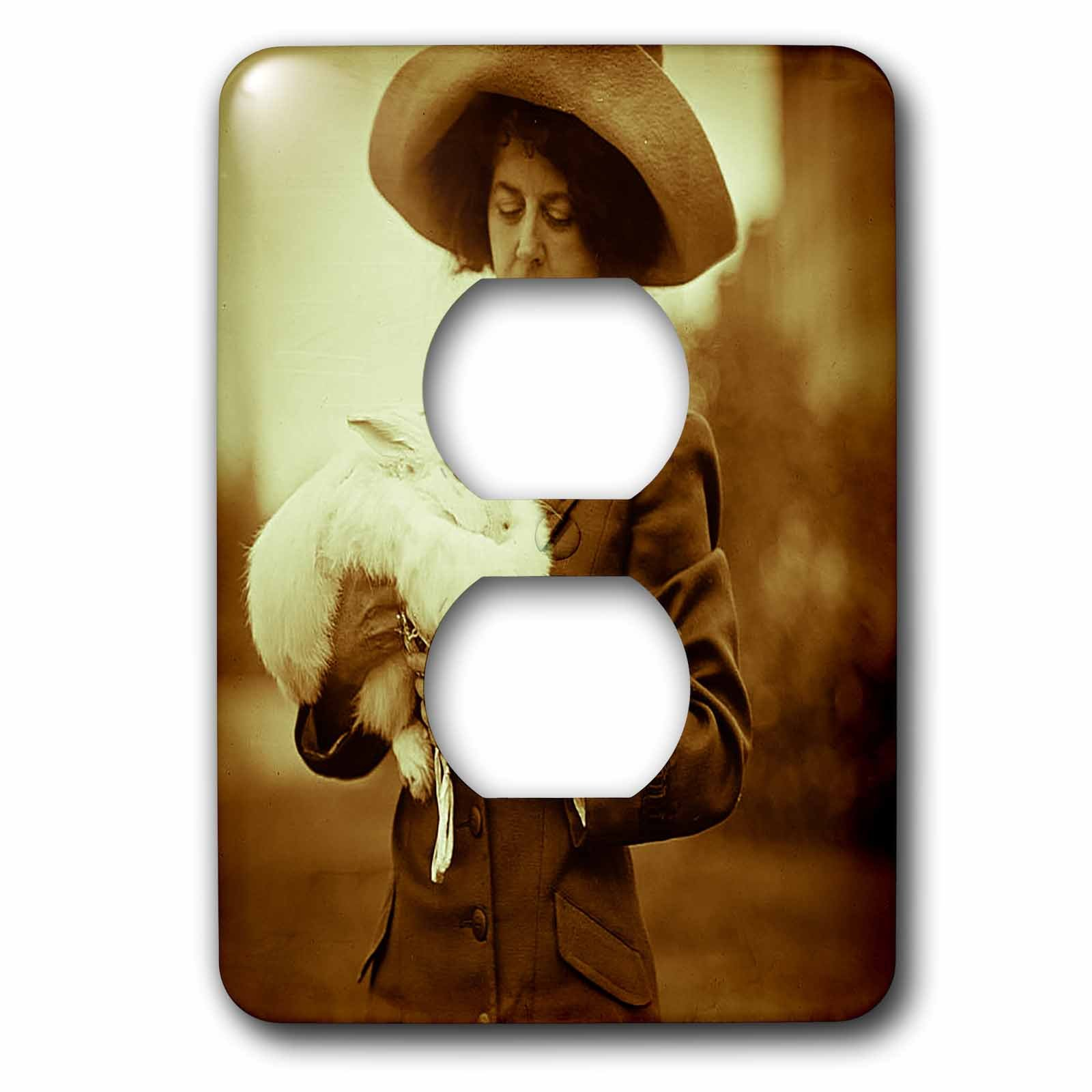 Scenes from the Past Vintage Photography - Vintage Woman with Giant Rabbit New Orleans Circa 1920 Sepia Tone - Light Switch Covers - 2 plug outlet cover (lsp_244028_6)