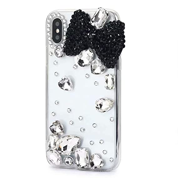 100% authentic 15aef d5697 iPhone Xr Diamond Case,iPhone Xr Crystal Rhinestone Case,FreeAir 3D  Handmade Crystal Bling Diamonds Shiny Rhinestone Black Bow Soft Case for  iPhone Xr ...