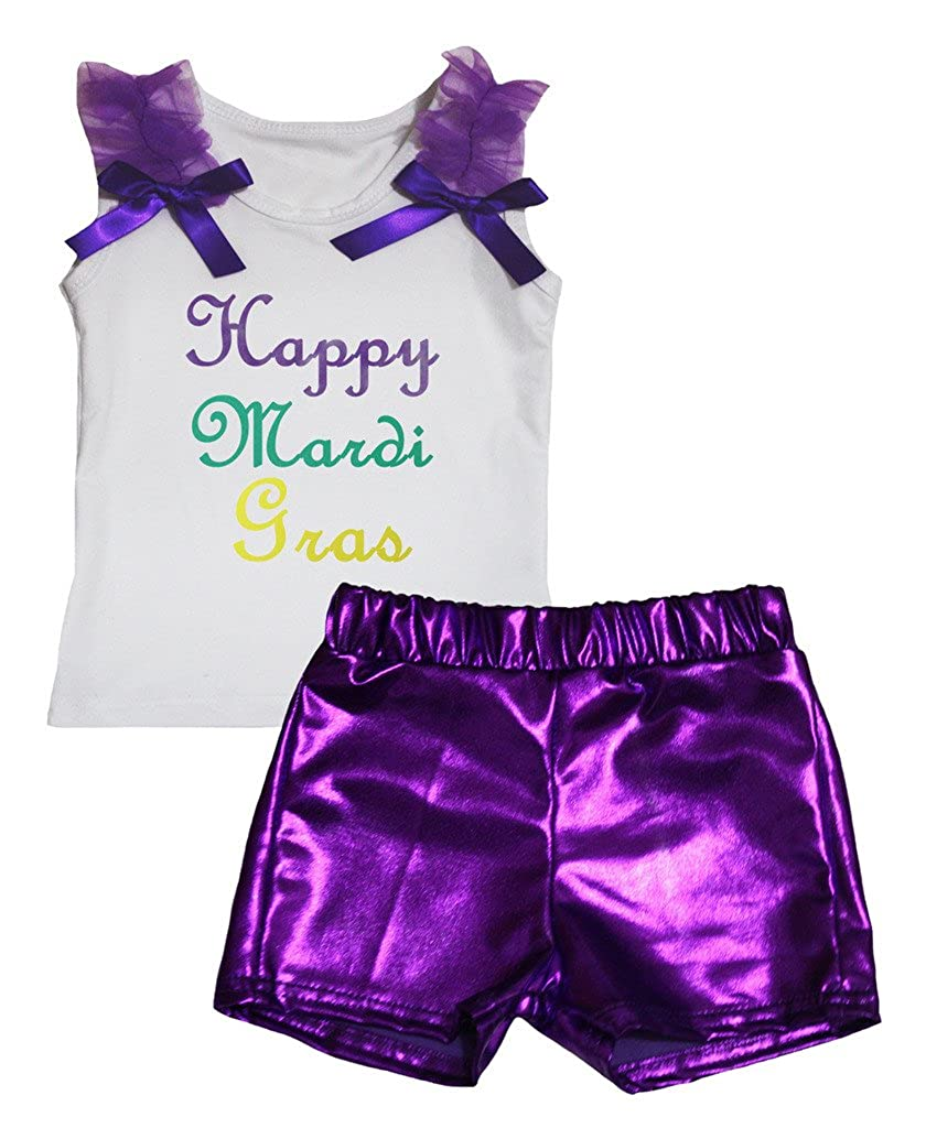 Petitebella Happy Mardi Gras White Cotton Shirt Purple Bling Short Set 1-8y