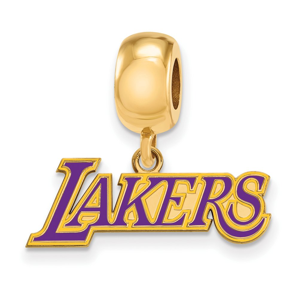 NBA 14k Yellow Gold Plated Sterling Silver Los Angeles Lakers Small Charm Bead