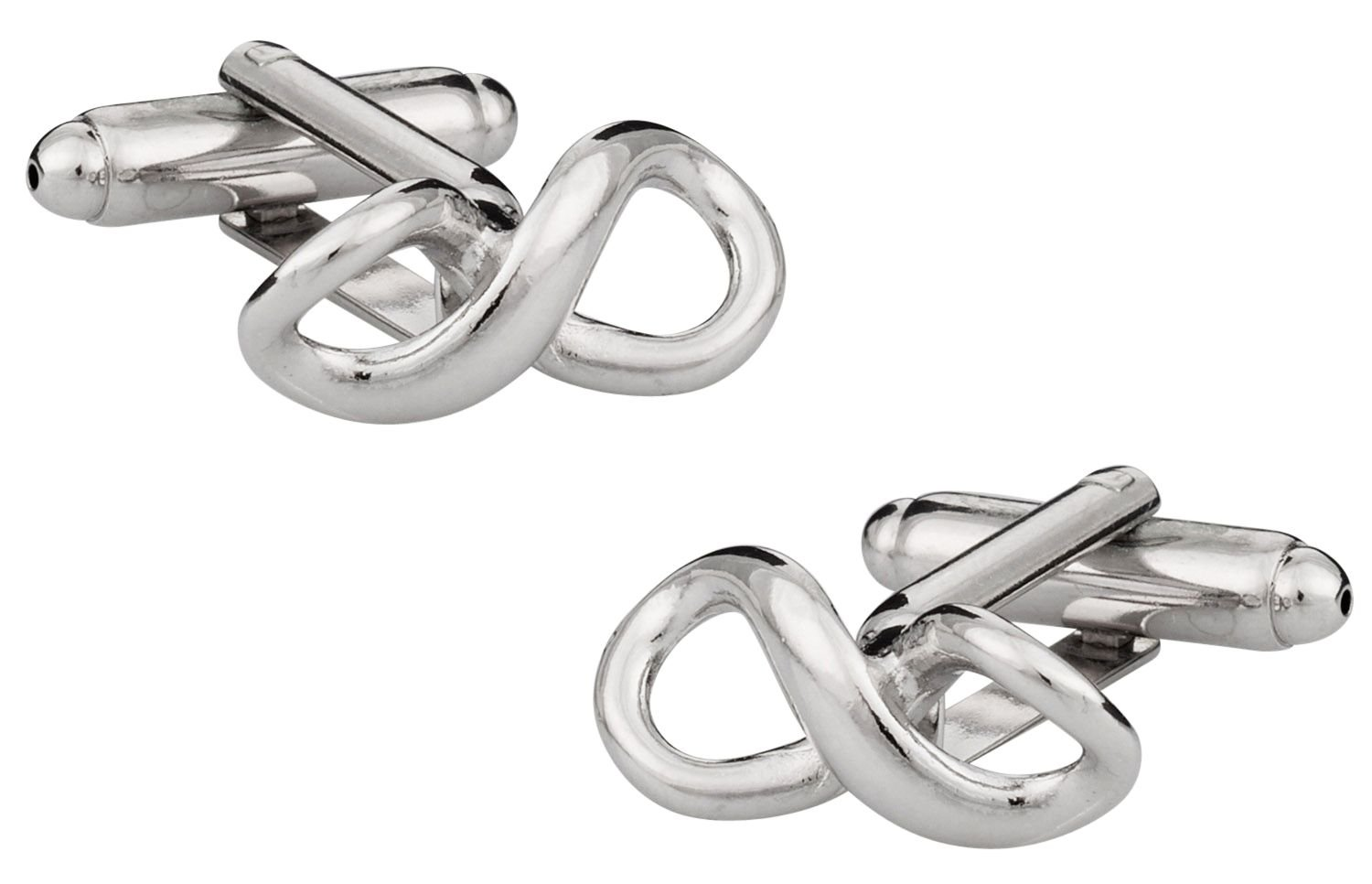 Cuff-Daddy Infinity Silver-tone Forever Love Cufflinks with Presentation Box