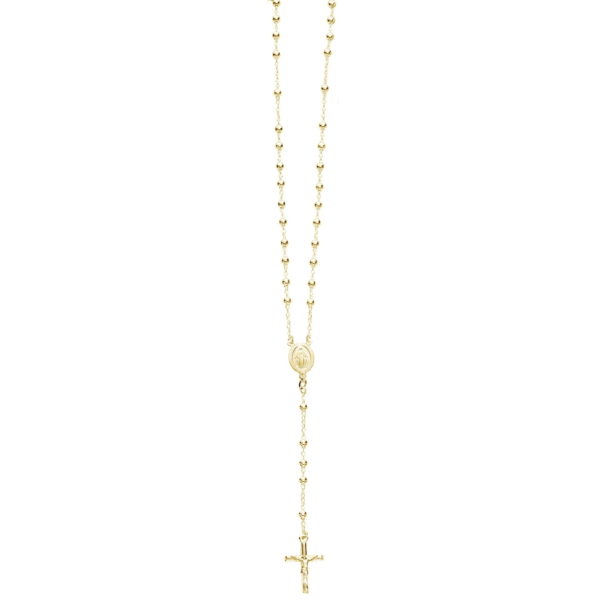 Sterling Silver Gold-tone 4mm Rosary Bead Necklace Virgin Mary Cross Made in Italy (24 Inches)