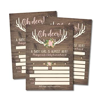 picture regarding Printable Shower Invitations titled 25 Oh Deer Youngster Shower Invites, Red Rustic Sprinkle Invite for Lady, Buck Innovative Gender Concept