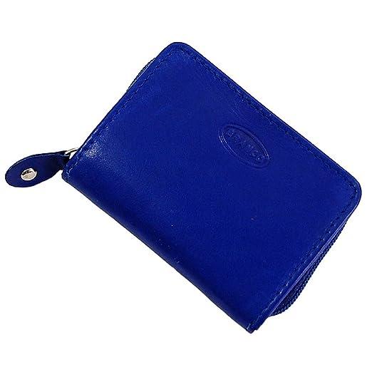 2d2925371eee4 Branco Münzbörse Leder Minibörse Reißverschluss Geldbörse Geldbeutel  Portemonnaie kleine Börse GoBago (Blau)