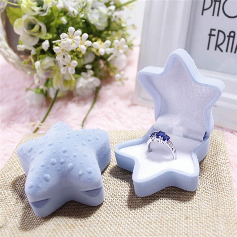 Tuscom Personality and Creativity Gift Young Star Premium Velvet Container|for Ring Stud Earrings Marriage Ring Box|6.5 x 6.5 x4cm Jewelry Container (2 Colors) (Blue)