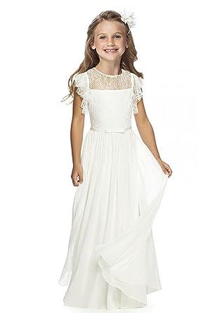 dfd04d50c9746 Charm4you Robes de Cérémonie Mariage Filles de Fleur Enfant Longue Dentelle  en A sans Manches Blanc Ivoire  Amazon.fr  Vêtements et accessoires