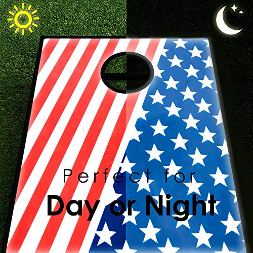 Fineser LED Light up Cornhole Bean Bag Toss, 2 Easy Transport Game Platforms with Convenient Tote Bag and 8 Toss Bags by Fineser (Image #1)