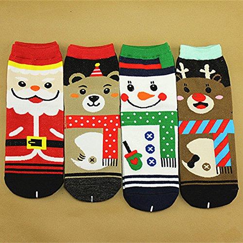 HOT SALE! Napoo Women Cute Christmas 3D Santa Claus Printed Socks Unisex Low Cut Ankle Cotton Socks