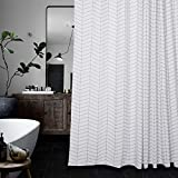 Water-Repellent Striped Fabric Shower Curtain Mold Resistant Black and White,71-inch x 71-inch