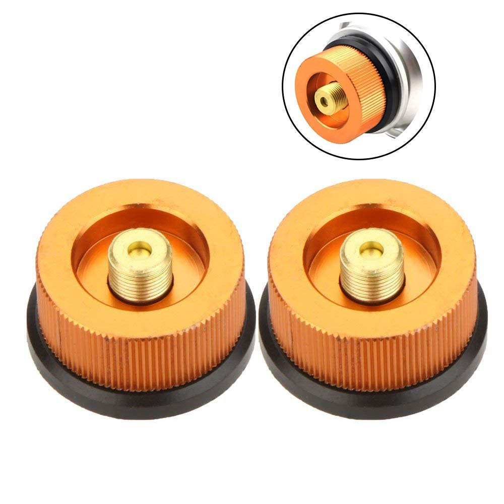 VVHOOY Camping Stove Adapter, Outdoor Camping Hiking Stove Burner Adaptor Split Type Furnace Converter Connector Auto-off Gas Cartridge Tank Cylinder Adapter (2 Pack)