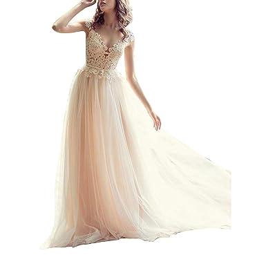 8d1df13bede Women s Lace Applique Wedding Dresses for Bride 2018 Beach Tulle Bridal  Gowns Ivory US 14