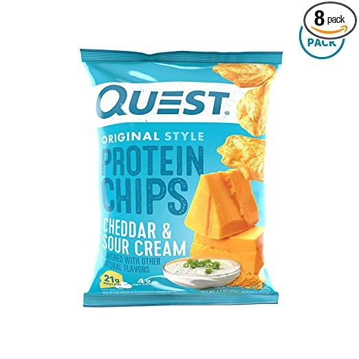 Quest Nutrition Protein Chips, Cheddar & Sour Cream, 21g Protein, 4g Net Carbs, 132 Cals, Low Carb, Gluten Free, Soy Free, Potato Free, Baked, 1.2oz Bag, (Pack Of 8), Packaging May Vary