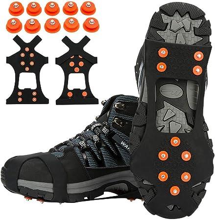 Ice Snow Grips 8 Tacchetti Antiscivolo Pinze per Il Ghiaccio Ramponi Antiscivolo Picchi di Neve E Ghiaccio Scarpe da Arrampicata Stivali Tacchetti di Trazione