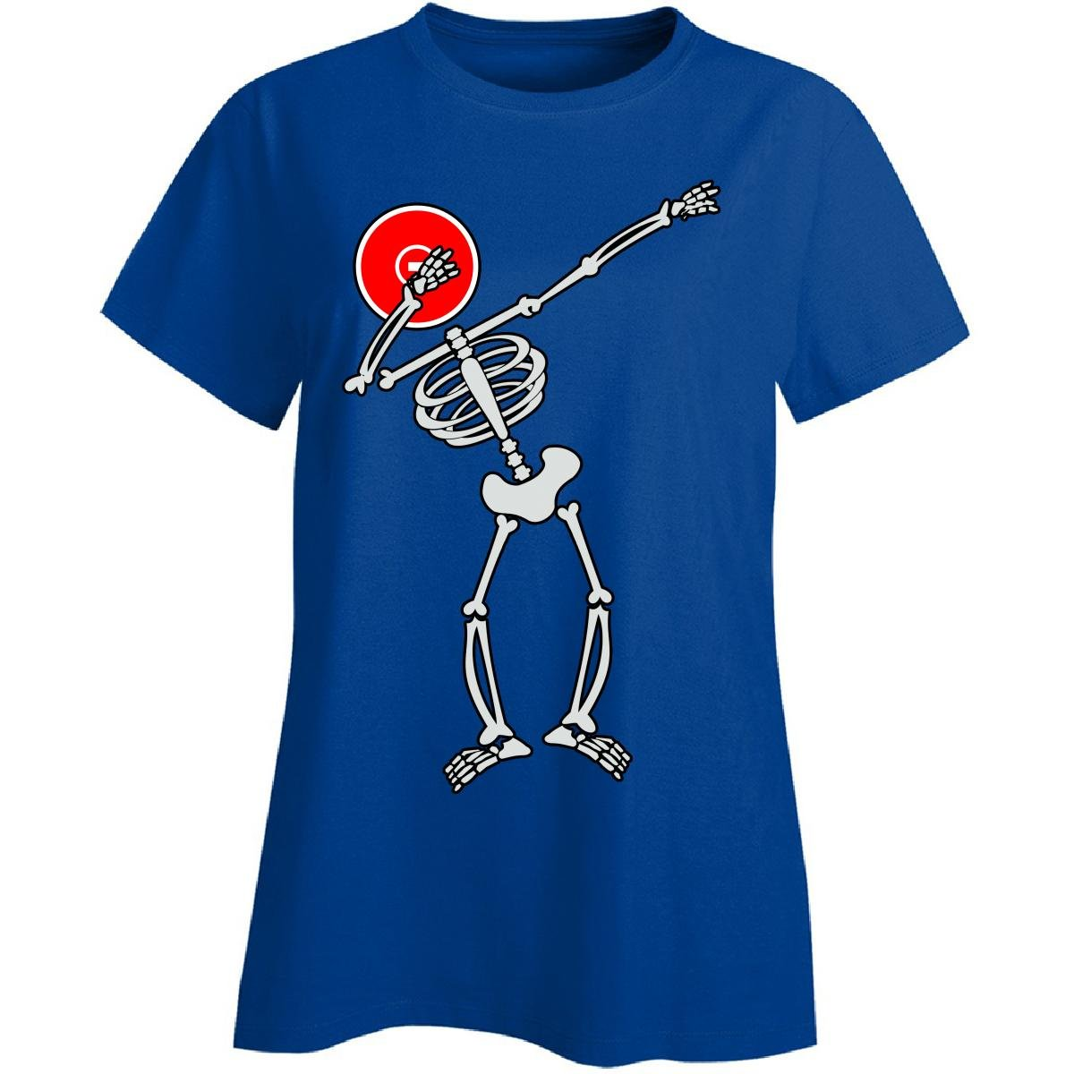 Dabbing Skeleton With Wrestling Mat Head - Ladies T-shirt Ladies 2xl Royal by Eternally Gifted