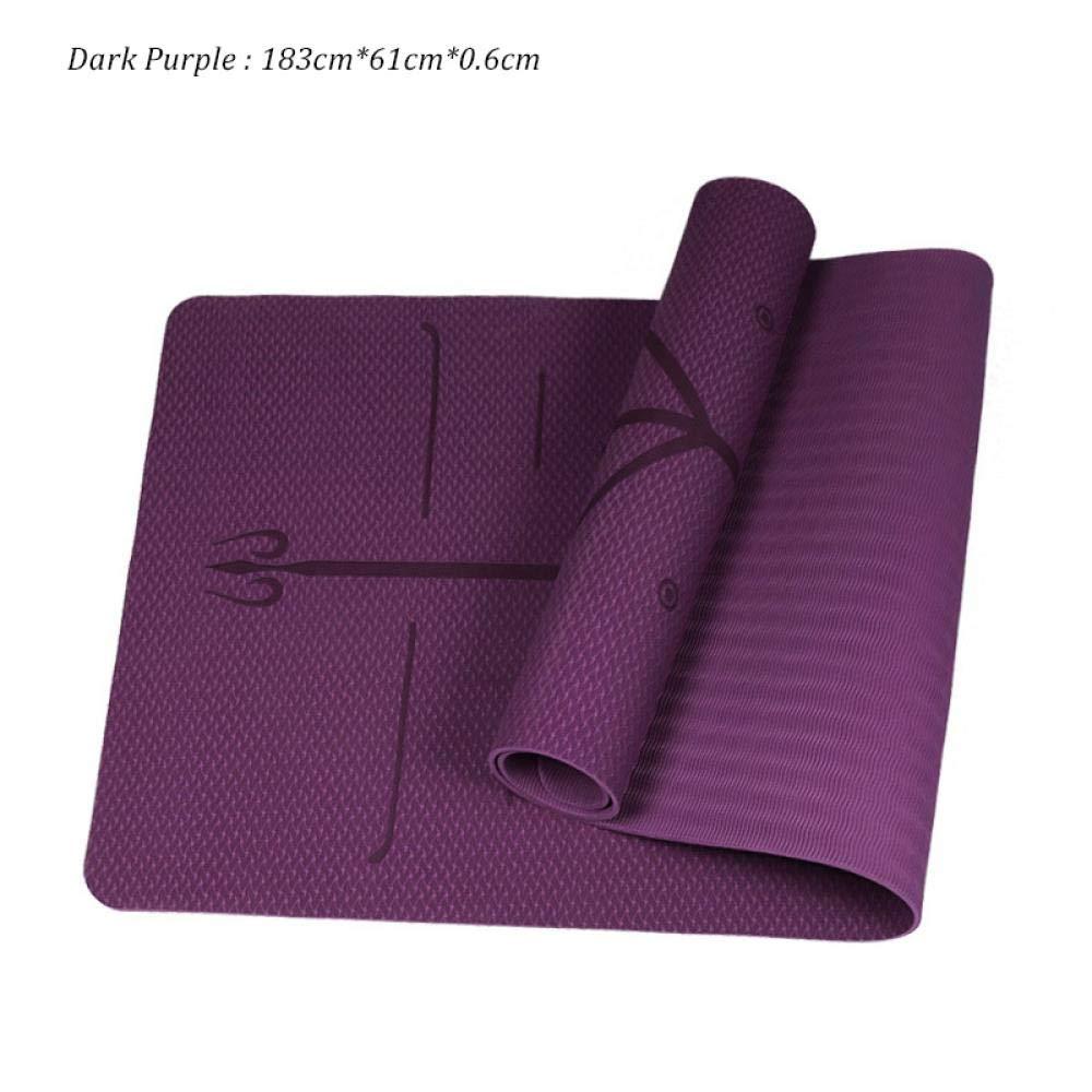 Plum TSANG Tapis De Yoga Tapis De Yoga De 6 Mm TPE 183Cmx61Cm avec La Ligne De Position Tapis De Tapis Antidérapant Haute Densité Fitness Gymnastique Pads Pads