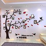 Alicemall Stickers Muraux Arbre Photo Sticker Mural 3D Stickers Muraux TV Autocollants 3d Stickers Muraux 3d Plantes Stickers Muraux Oiseaux Décoration Mural Salon(arbre avec feuilles rouges)