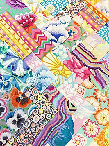 Kaffe Fassett Collective Vibrant Pastel Floral Modern Pansies Precut 5-inch Cotton Fabric Quilting Squares by Kaffe Fassett