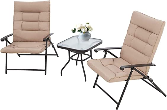 Cemeon 3 Pieces Patio Folding Chair Set Outdoor Furniture Set Padded Adjustable Recliner Metal Chair
