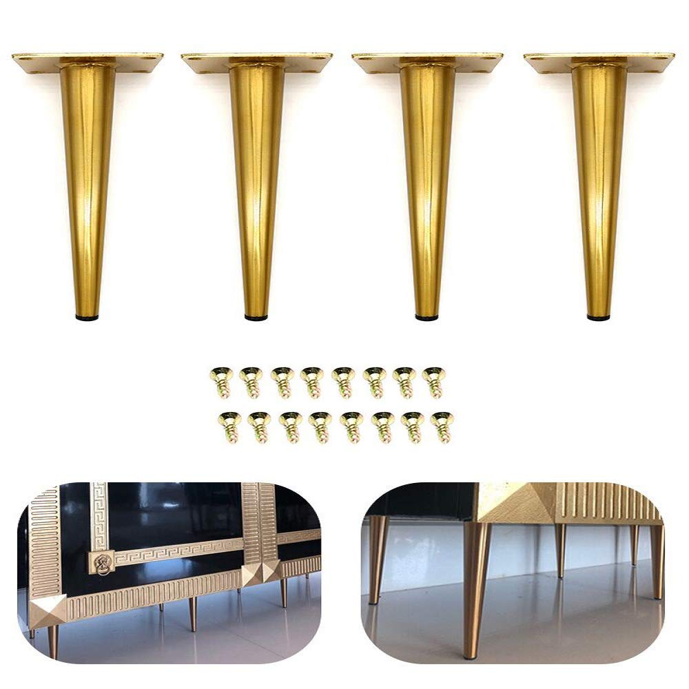 4Pcs 7.5'' Furniture Cabinet Metal Legs Kitchen Tall Sleek Tapered Leg, Brushed Nickel Finish, Sofa Table Bed Legs
