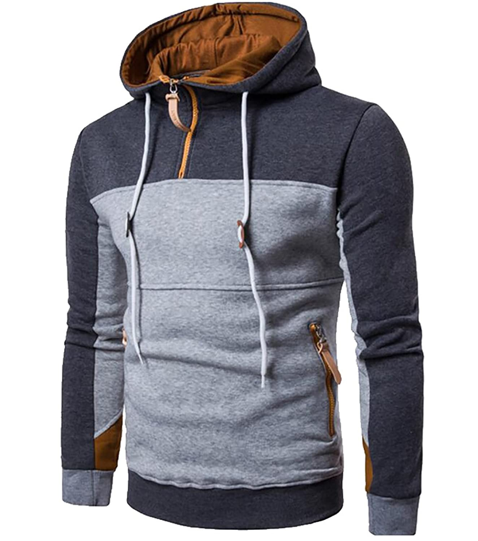5cfbd1fdb5 outlet MLG Men Contrast Color Drawstring 1/4 Zip Pullover Hoodie Sweatshirt
