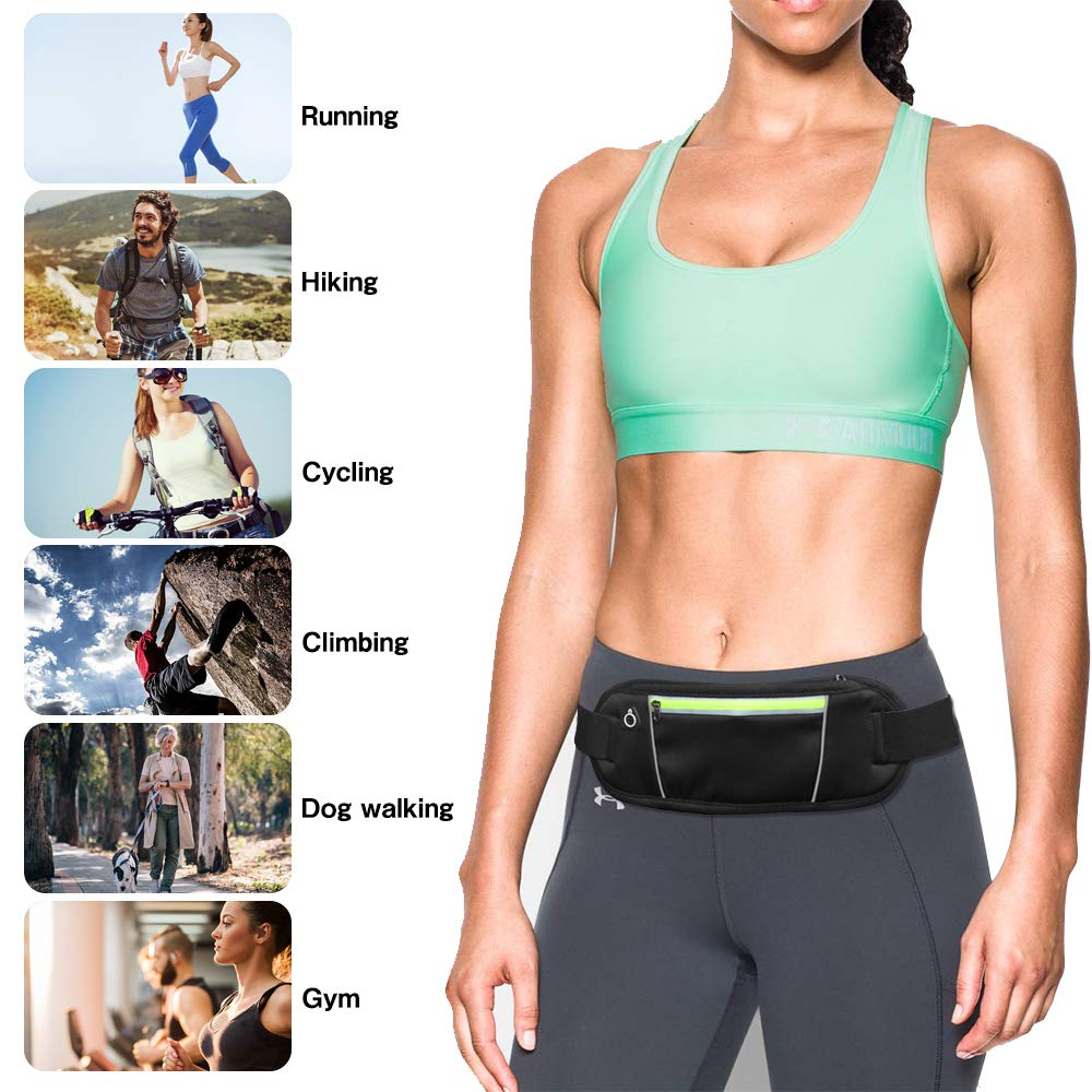 Eastshining Running Belt Waist Pack Fitness Belt Bag Adjustable Waterproof with Headphone Hole for Travel Running Cycling and Outdoors