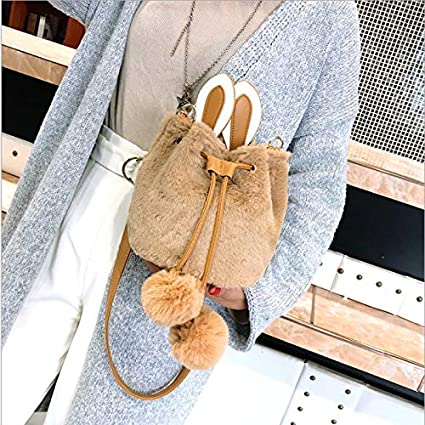 LCLiang Bag Female Fashion Cute Girl Rabbit Fur Bag Slung Shoulder Bucket Bag Color : Pink