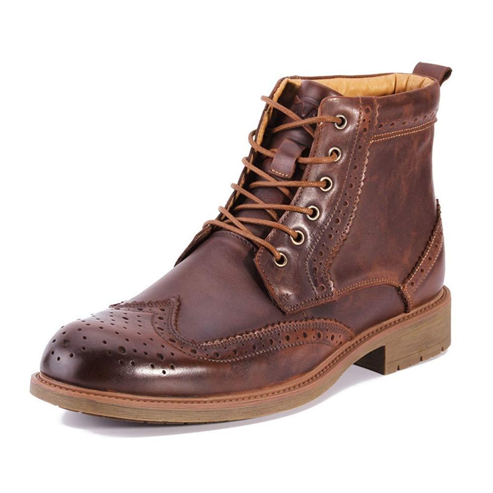 Jincosua Brogues Stiefel für Herren, weiche Sohle, echtes Leder, atmungsaktiv, strapazierfähig, braun, UK 9