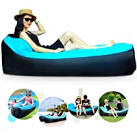 Mothca Inflatable Lounger Air Sofa with Integrated Pillow Waterproof Portable Tear-resistant Air Lounger Inflatable Couch Air Bed Sleeping Bag with Storage Bag for Outdoor Hiking Camping, Pool, Beach and Backyard Party