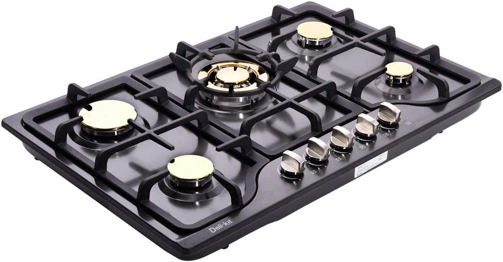 "Deli-kit DK257B-C01 30"" LPG/NG Gas Cooktop gas hob stovetop 5 burners Dual Fuel 5 Sealed Burners Built-In gas hob Stainless Steel 110V AC pulse ignition gas Cooker gas stove with cast iron support"