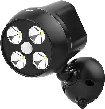 NICREW Sensor de Movimiento Exterior, Foco LED Inalámbrico Batería ...