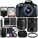 Canon EOS Rebel T6 DSLR Camera + EF-S 18-55mm & Sigma 18-300mm Lens + 32GB Memory Card + Itoya Photo Album + Gadget Bag + 3 Piece Filter Kit + RS-60 Remote Switch + Slave Flash – Top Accessory Kit