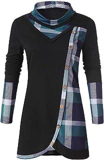SUMTTER Felpe Donna Camicia a Quadri Elegante Pullover a Collo Alto Camicetta con Bottoni Maniche Lunghe Blusa Tunica