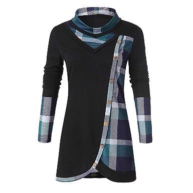 1655c9a9a40397 Women's Tops Toamen T-Shirt Jumper Pullover Sale 2019 New Ladies Casual  Long Sleeve Plaid