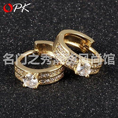 Micro Pave zircon earrings gold plated 18k gold lady sweet temperament bride earrings K640