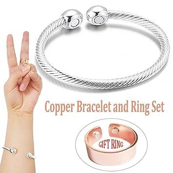 9f150e1e60b Magnetic Copper Bracelets for Men Women for Arthritis Pain Relief  Adjustable Magnetic Therapy Copper Bangle Bracelet