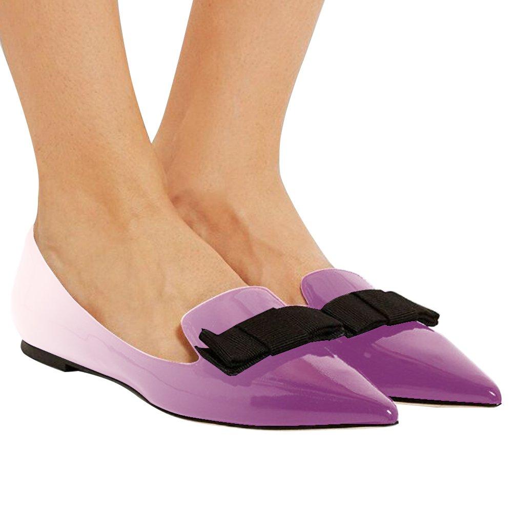 Eldof Women's Flats, Pointed Toe Flats Pumps, Patent Leather Flats Pumps, Walking Dress Office Classic Comfortable Flats B07DZV47G4 5 B(M) US|Purple-light