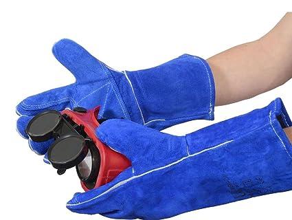 Guantes de protección para WGB-DP doble de la mano de gran calidad color azul