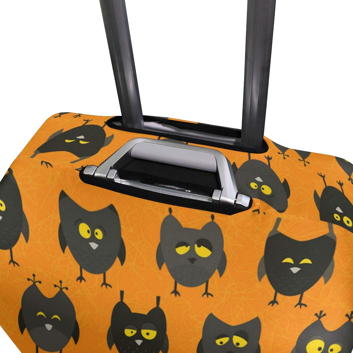 Black Halloween Owl Decorations Travel Luggage Protector Case Protective Suitcase Cover Elastic Luggage Protector Case Protector,Four Sizes Available