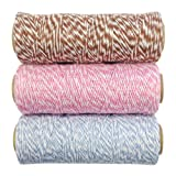 Wrapables 4-Ply Cotton Baker's Twine for Gift Wrapping and Arts and Crafts, 110-Yard Spool, Brown/Pink/Blue Grey, Set of 3