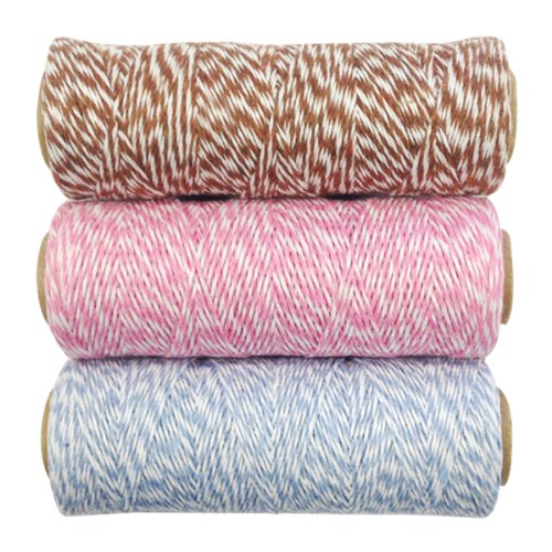 Wrapables 4-Ply Cotton Baker's Twine for Gift Wrapping and Arts and Crafts, 110-Yard Spool, Brown/Pink/Blue Grey, Set of 3 by Wrapables