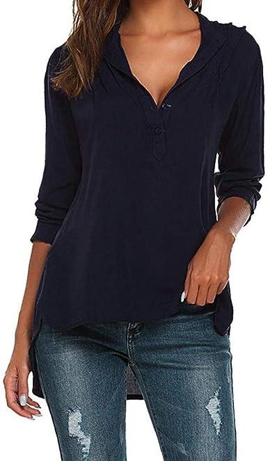 Blusas Elegante Mujer Moda Camisas Primavera Color Sólido V-Cuello Manga Larga Botonadura Especial Estilo Tops Anchos Irregular Hipster Casual Camicia Bluse: Amazon.es: Ropa y accesorios
